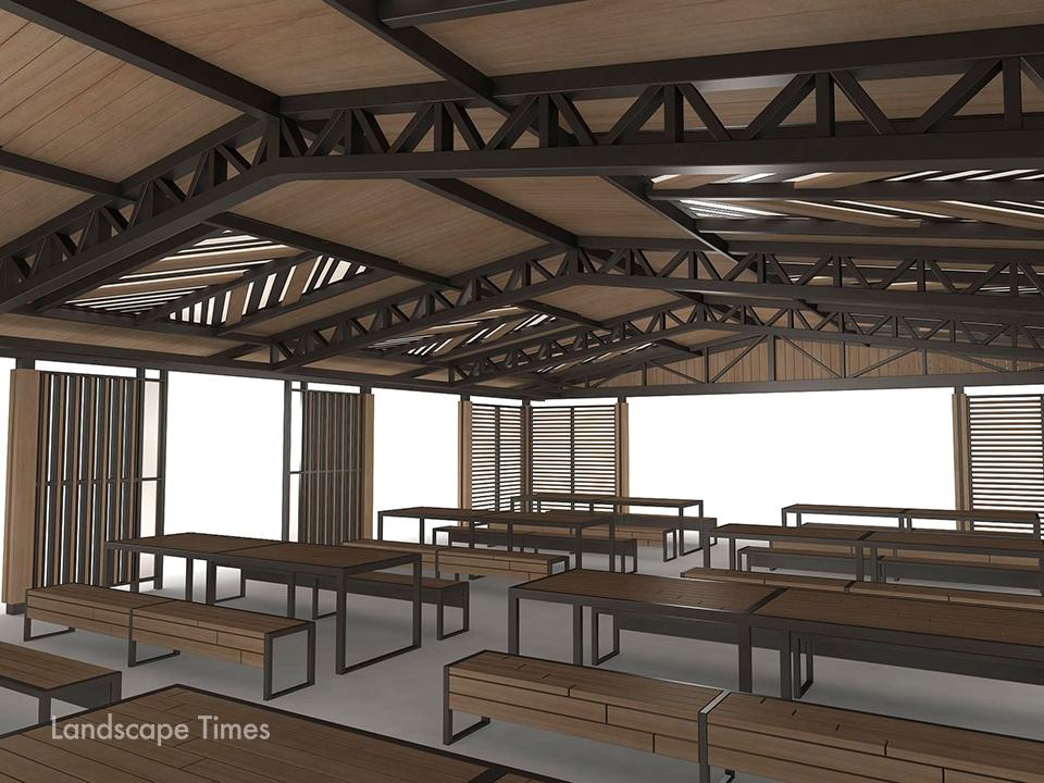 초대형 퍼걸러 내부에는 기둥이 없어 벤치와 테이블 설치가 용이하고 최대 100명이 동시에 이용할 수 있다. [자료제공 어반스케이프]